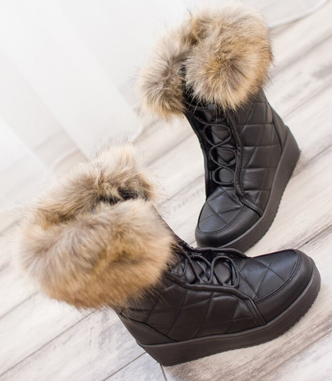 Dámske čierne čižmy s kožušinou - Dámske topánky  1ff3ad9f748